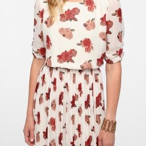 Urban Outfitters Pleated Open Back Floral Dress